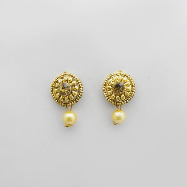 Kriaa Brown Austrian Stone Gold Plated Stud Earrings