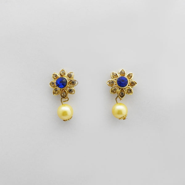 Kriaa Blue Austrian Stone Gold Plated Stud Earrings