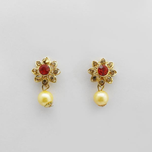 Kriaa Red Austrian Stone Gold Plated Stud Earrings