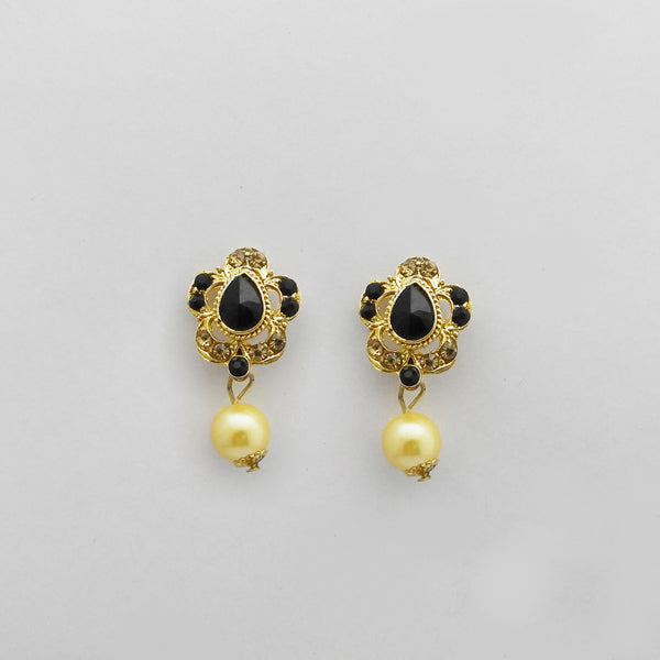 Kriaa Gold Plated Black Austrian Stone Stud Earrings