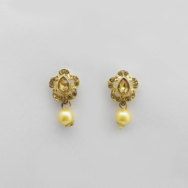 Kriaa Gold Plated Brown Austrian Stone Stud Earrings