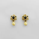 Kriaa Black Austrian Stone Gold Plated Stud Earrings