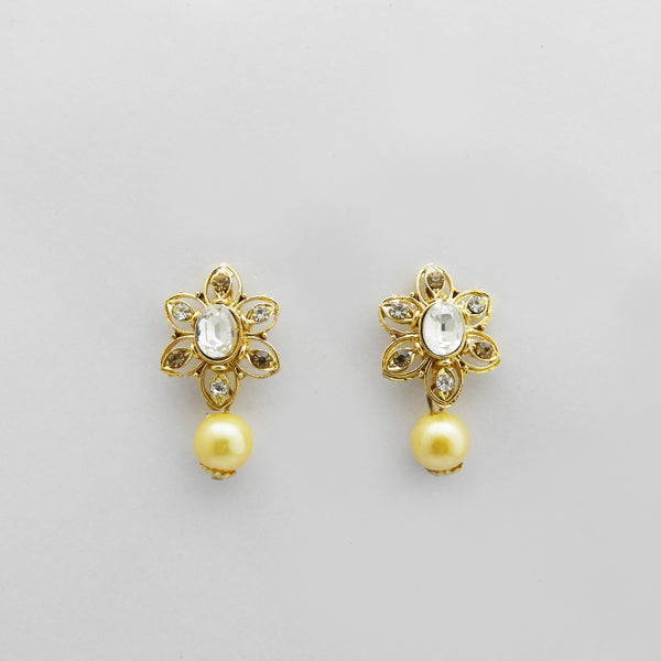 Kriaa Gold Plated White Austrian Stone Stud Earrings