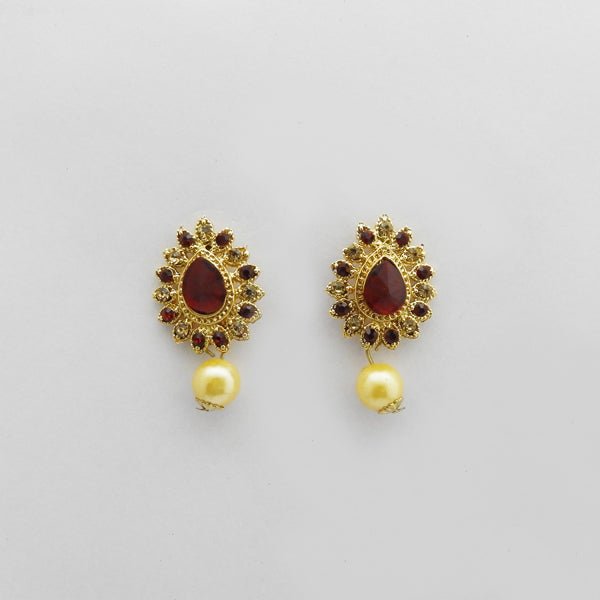 Kriaa Gold Plated Maroon Austrian Stone Stud Earrings