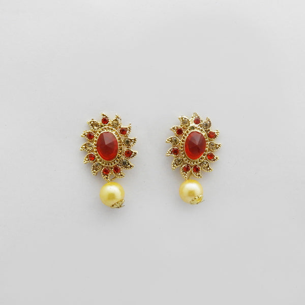 Kriaa Gold Plated Orange Austrian Stone Stud Earrings