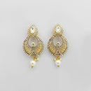 Kriaa White Austrian Stone Gold Plated Dangler Earrings