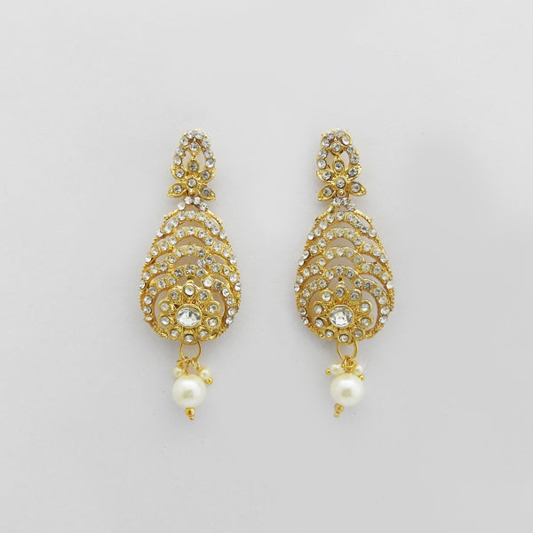 Kriaa Gold Plated White Austrian Stone Dangler Earrings