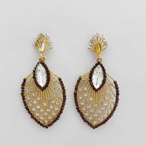 Kriaa Maroon Austrian Stone Gold Plated Dangler Earrings
