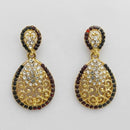 Kriaa Gold Plated Maroon Austrian Stone Dangler Earrings