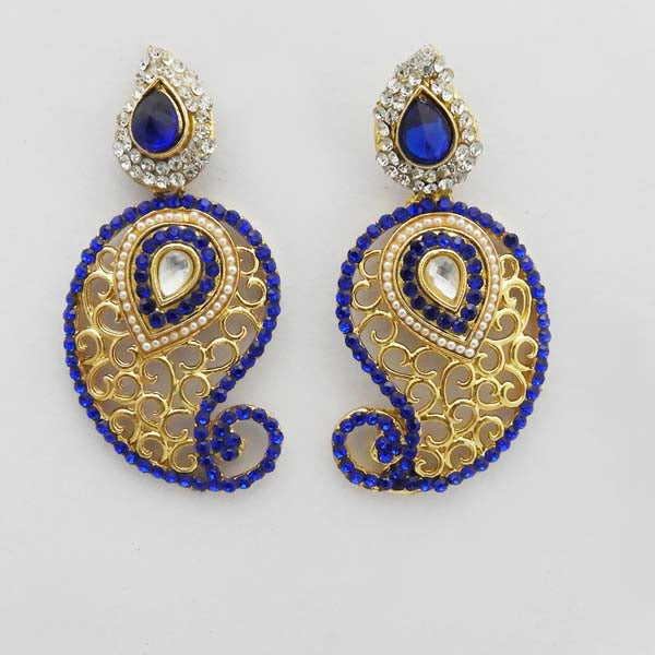 Kriaa Gold Plated Blue Austrian Stone Dangler Earrings
