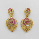 Kriaa Pink Austrian Stone Gold Plated Dangler Earrings