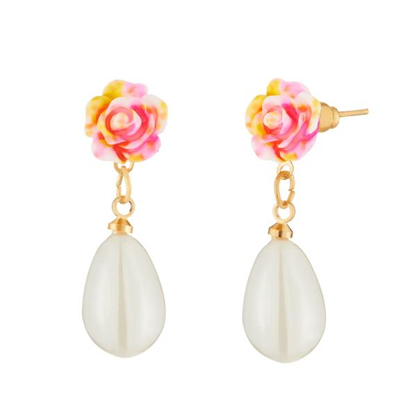 Kriaa Pink Rose White Pearl Gold Plated Dangler Earrings