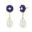 Kriaa Blue Floral White Pearl Gold Plated Dangler Earrings