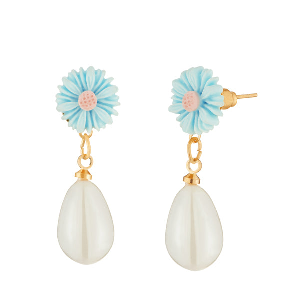 Kriaa Gold Plated Blue Floral White Pearl Dangler Earrings