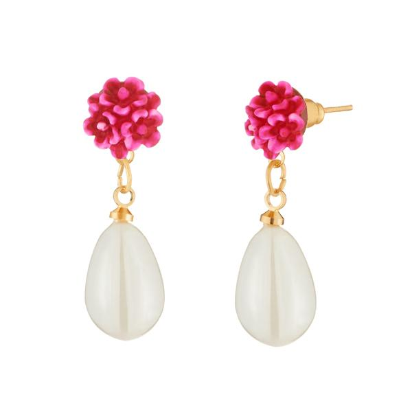 Kriaa Pink Floral White Pearl Dangler Gold Plated Earrings