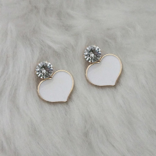 Kriaa White Enamel Crystal Stone Gold Plated Stud Earring