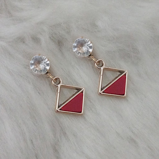 Kriaa Red Enamel Crystal Stone Gold Plated Stud Earrings
