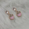 Kriaa Pink Enamel Crystal Stone Gold Plated Stud Earrings