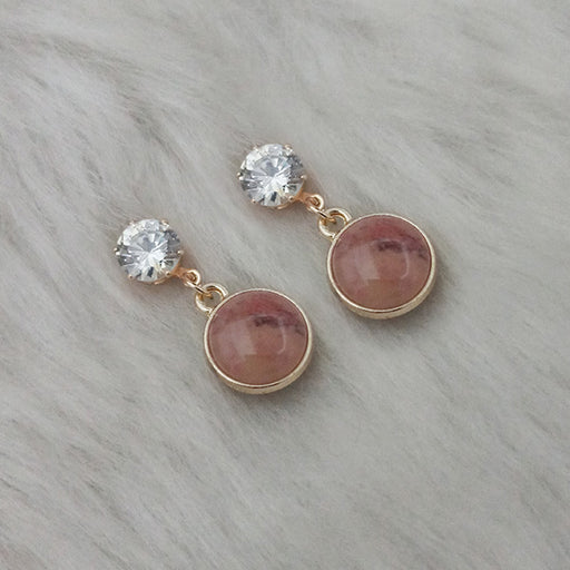 Kriaa Resin Crystal Stone Gold Plated Stud Earrings