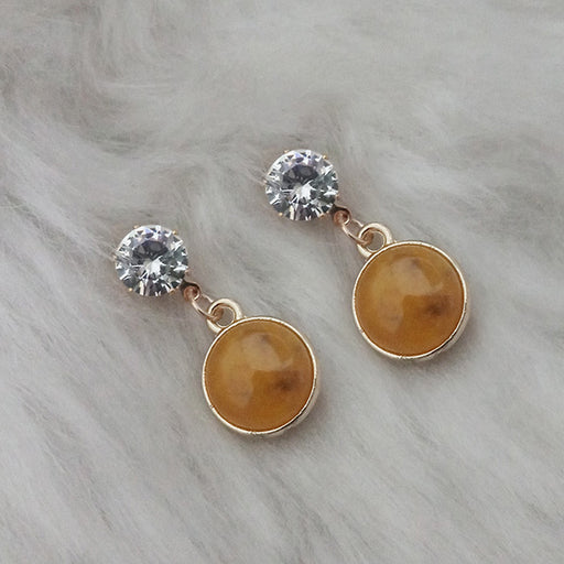 Kriaa Brown Resin Crystal Stone Gold Plated Stud Earrings