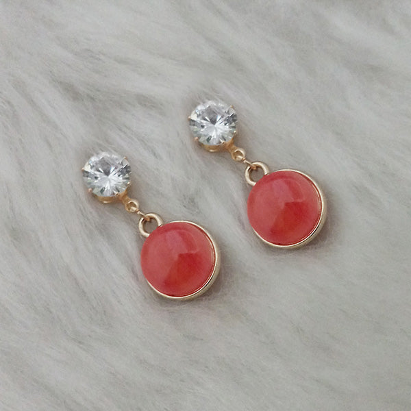 Kriaa Red Resin Crystal Stone Gold Plated Stud Earrings