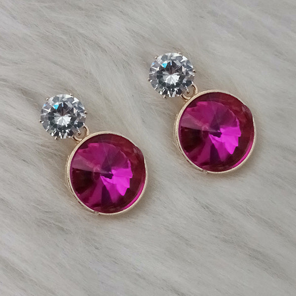 Kriaa Gold Plated Pink Crystal Stone Stud Earrings