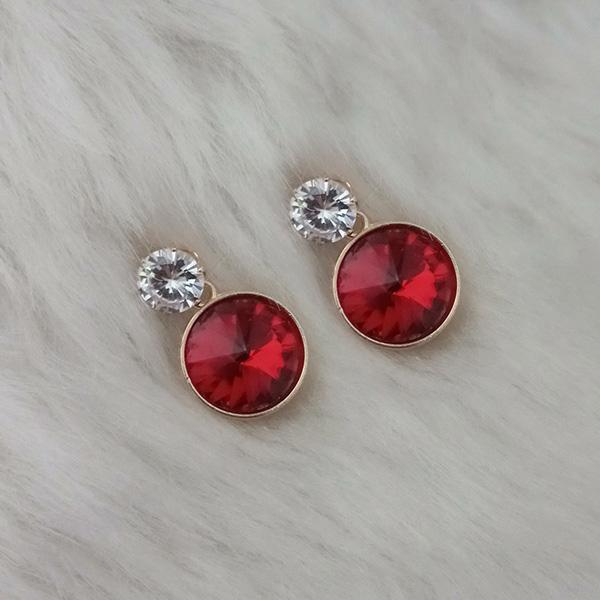 Kriaa Gold Plated Red Crystal Stone Stud Earrings