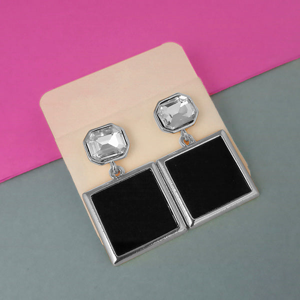 Urthn Austrian Stone Silver Plated Black Enamel Dangler Earrings