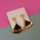 Urthn Gold Plated Austrian Stone Black Enamel Dangler Earrings