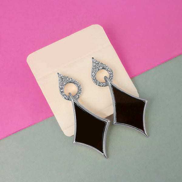 Urthn Silver Plated Austrian Stone Black Enamel Dangler Earrings