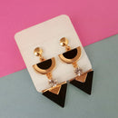 Urthn Gold Plated Black Enamel Dangler Earrings