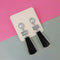 Urthn Silver Plated Black Enamel Dangler Earrings