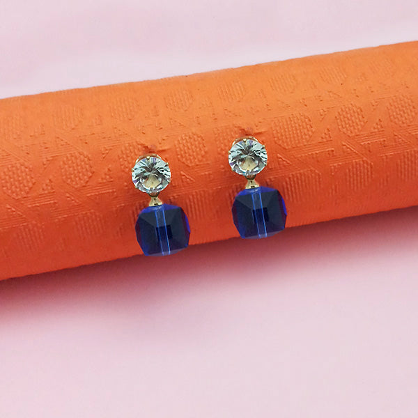 Kriaa Blue Crystal And Austrian Stone Stud Earrings