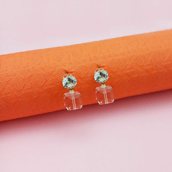 Kriaa Pink Crystal And Austrian Stone Stud Earrings