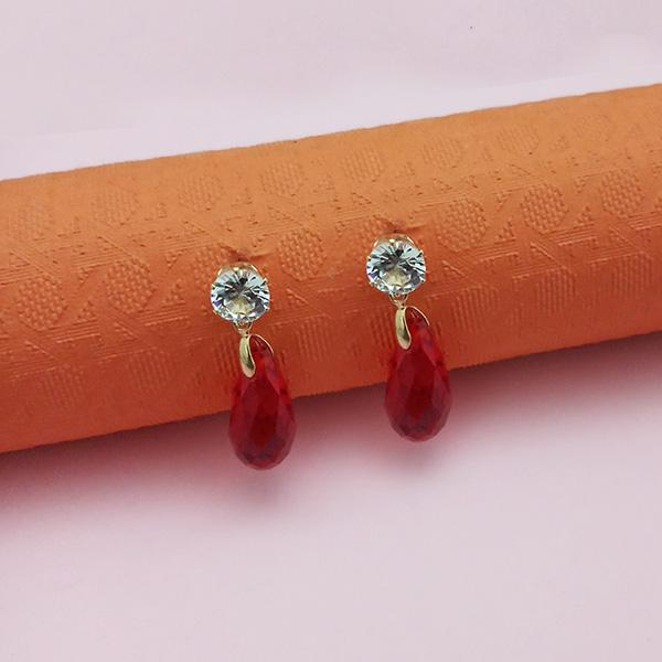Kriaa Red Crystal And Austrian Stone Stud Earrings - 1312843F - FS