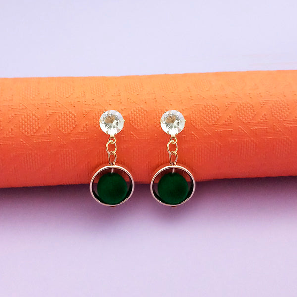Kriaa Austrian Stone Green Pom Pom Earrings