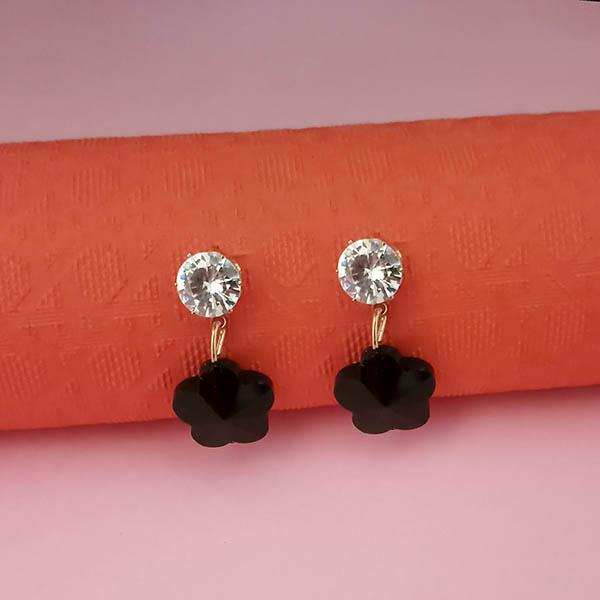 Kriaa Black Crystal And Austrian Stone Stud Earrings
