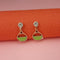 Kriaa Green Enamel Crystal Stone Gold Plated Stud Earrings - 1312850B - FS