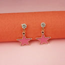 Kriaa Pink Enamel Crystal Stone Gold Plated Stud Earrings - 1312851F - FS