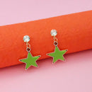 Kriaa Green Enamel Crystal Stone Gold Plated Stud Earrings