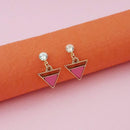 Kriaa Pink Enamel Crystal Stone Gold Plated Stud Earrings - 1312852A - FS