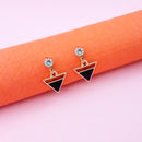Kriaa Black Enamel Crystal Stone Gold Plated Stud Earrings