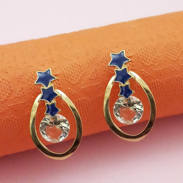 Kriaa Gold Plated Blue Meenakari Austrian Stone Stud Earrings - 1312853A
