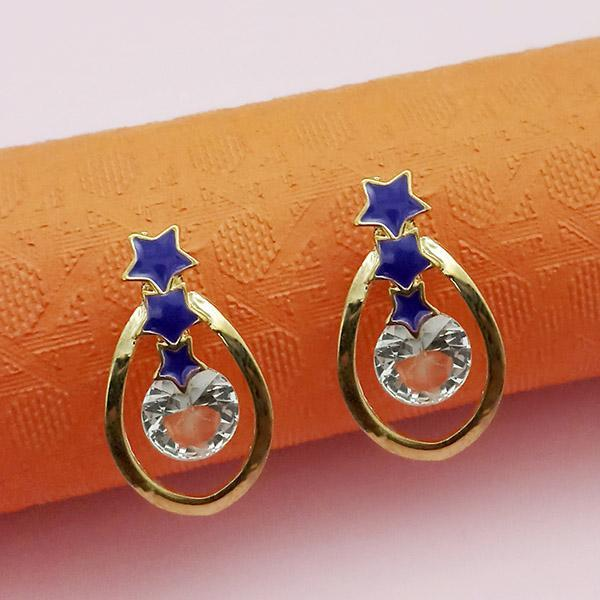 Kriaa Gold Plated Blue Meenakari Austrian Stone Stud Earrings - 1312853F - FS