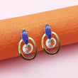 Kriaa Gold Plated Blue Meenakari Austrian Stone Stud Earrings - 1312858F - FS