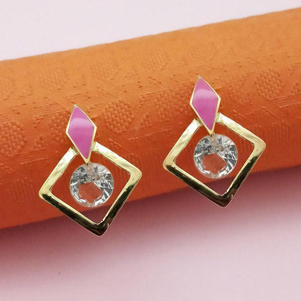 Kriaa Gold Plated Pink Meenakari Austrian Stone Stud Earrings - 1312861E - FS