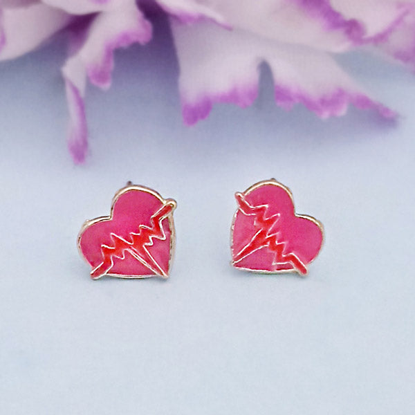 Kriaa Gold Plated Pink Meenakari Stud Earrings