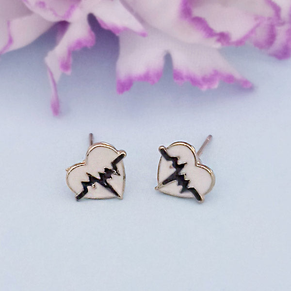 Kriaa Gold Plated White Black Meenakari Stud Earrings