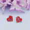Kriaa Red Meenakari Gold Plated Stud Earrings