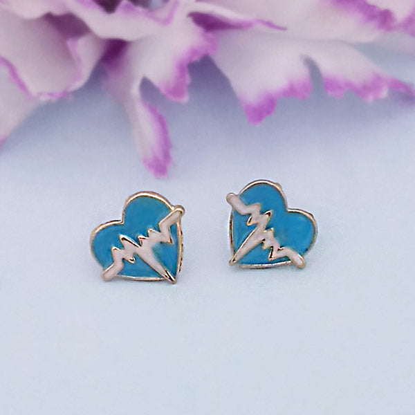 Kriaa Blue Meenakari Gold Plated Stud Earrings